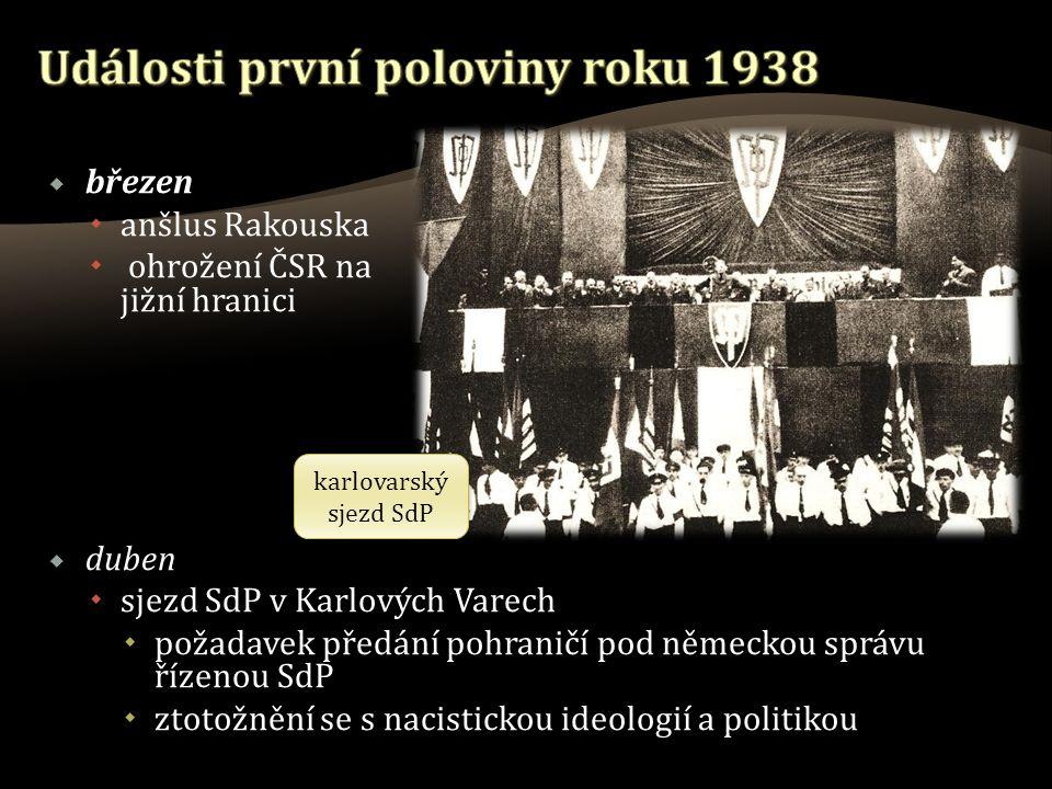  březen  anšlus Rakouska  ohrožení ČSR na jižní hranici  duben  sjezd SdP v Karlových Varech  požadavek předání pohraničí pod německou správu řízenou SdP  ztotožnění se s nacistickou ideologií a politikou karlovarský sjezd SdP