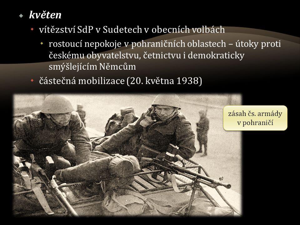  květen  vítězství SdP v Sudetech v obecních volbách  rostoucí nepokoje v pohraničních oblastech – útoky proti českému obyvatelstvu, četnictvu i demokraticky smýšlejícím Němcům  částečná mobilizace (20.