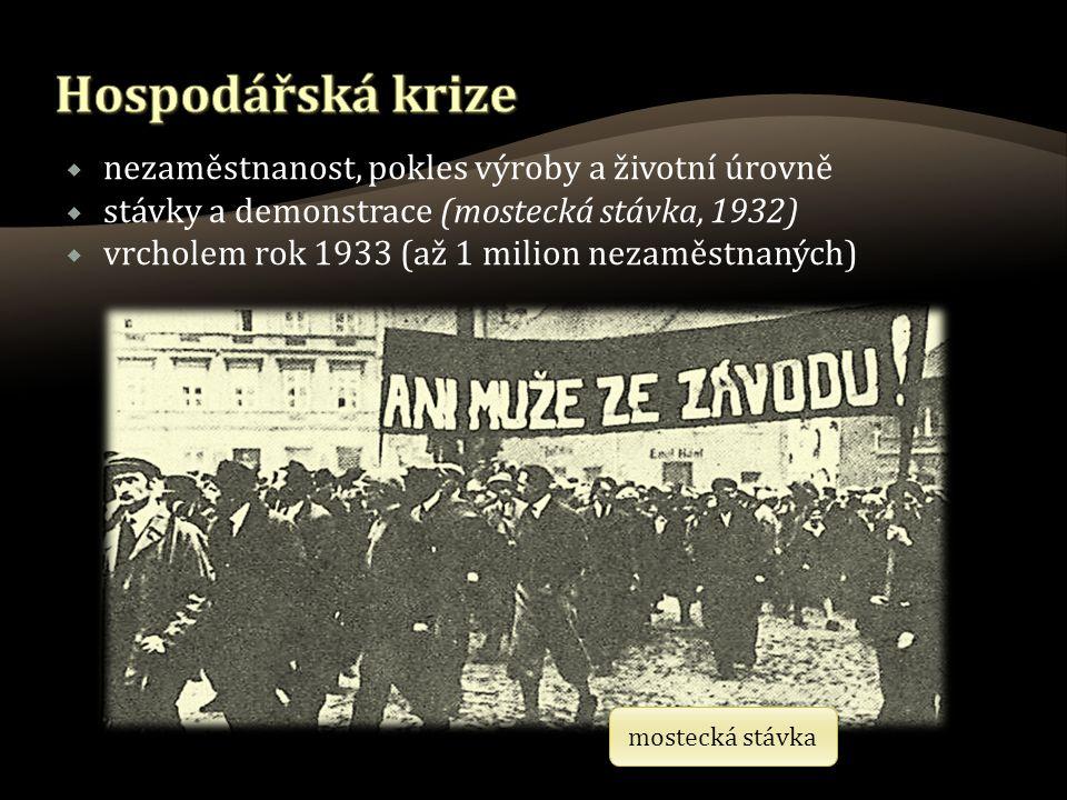  nezaměstnanost, pokles výroby a životní úrovně  stávky a demonstrace (mostecká stávka, 1932)  vrcholem rok 1933 (až 1 milion nezaměstnaných) mostecká stávka