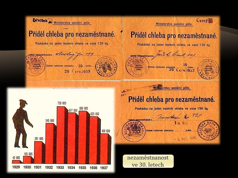nezaměstnanost ve 30. letech