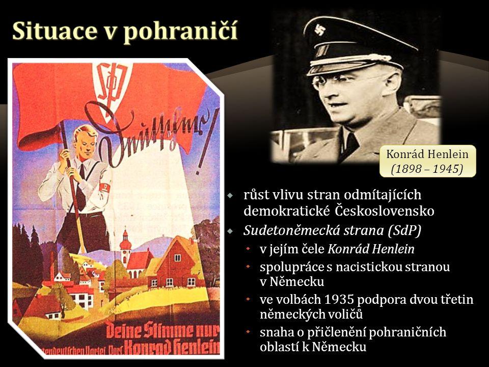  růst vlivu stran odmítajících demokratické Československo  Sudetoněmecká strana (SdP)  v jejím čele Konrád Henlein  spolupráce s nacistickou stranou v Německu  ve volbách 1935 podpora dvou třetin německých voličů  snaha o přičlenění pohraničních oblastí k Německu Konrád Henlein (1898 – 1945) Konrád Henlein (1898 – 1945)