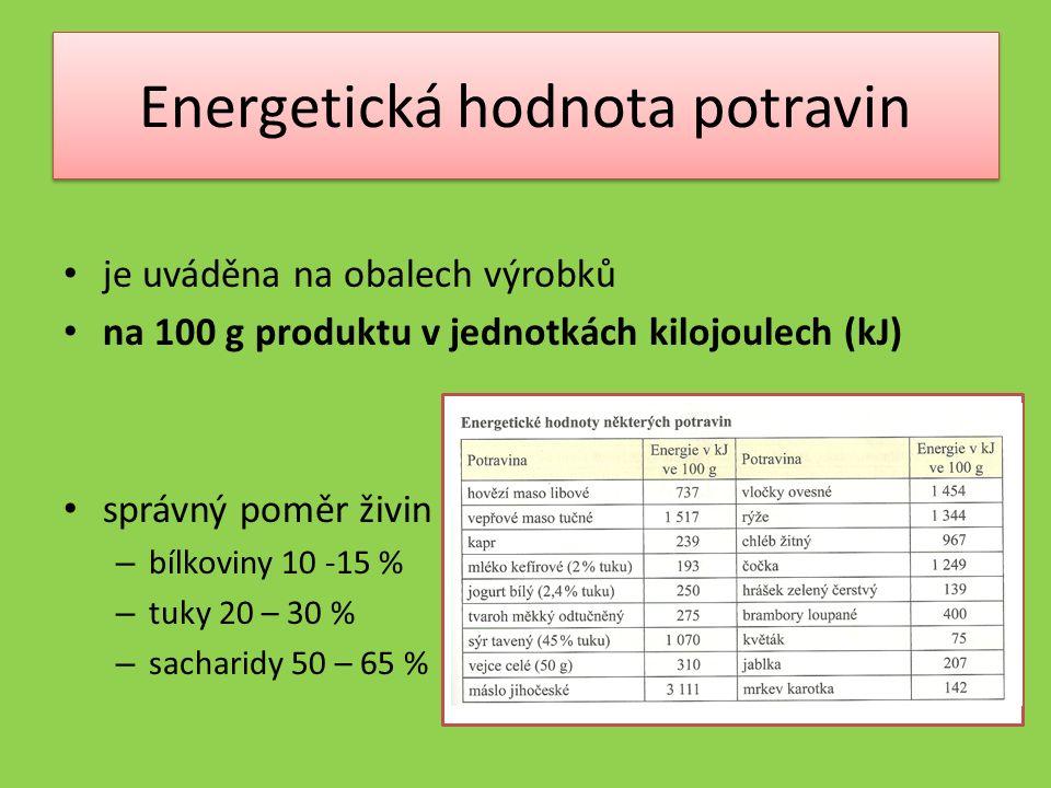 Energetická hodnota potravin je uváděna na obalech výrobků na 100 g produktu v jednotkách kilojoulech (kJ) správný poměr živin – bílkoviny 10 -15 % – tuky 20 – 30 % – sacharidy 50 – 65 %