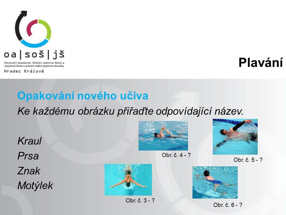 Plavání Opakování nového učiva Ke každému obrázku přiřaďte odpovídající název.