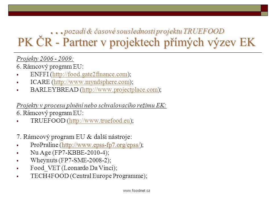 www.foodnet.cz … pozadí & časové souslednosti projektu TRUEFOOD PK ČR - Partner v projektech přímých výzev EK Projekty 2006 - 2009: 6.