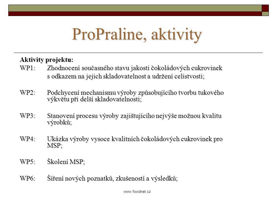 www.foodnet.cz ProPraline, aktivity Aktivity projektu: WP1: Zhodnocení současného stavu jakosti čokoládových cukrovinek s odkazem na jejich skladovatelnost a udržení celistvosti; WP2: Podchycení mechanismu výroby způsobujícího tvorbu tukového výkvětu při delší skladovatelnosti; WP3: Stanovení procesu výroby zajištujícího nejvýše možnou kvalitu výrobků; WP4: Ukázka výroby vysoce kvalitních čokoládových cukrovinek pro MSP; WP5: Školení MSP; WP6: Šíření nových poznatků, zkušeností a výsledků;