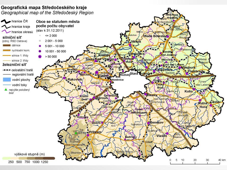 ČLENĚNÍ KRAJE Kraj je vymezen územím 12 okresů: Benešov, Beroun, Kladno, Kolín, Kutná Hora, Mělník, Mladá Boleslav, Nymburk, Praha-východ, Praha-západ, Příbram, Rakovník.