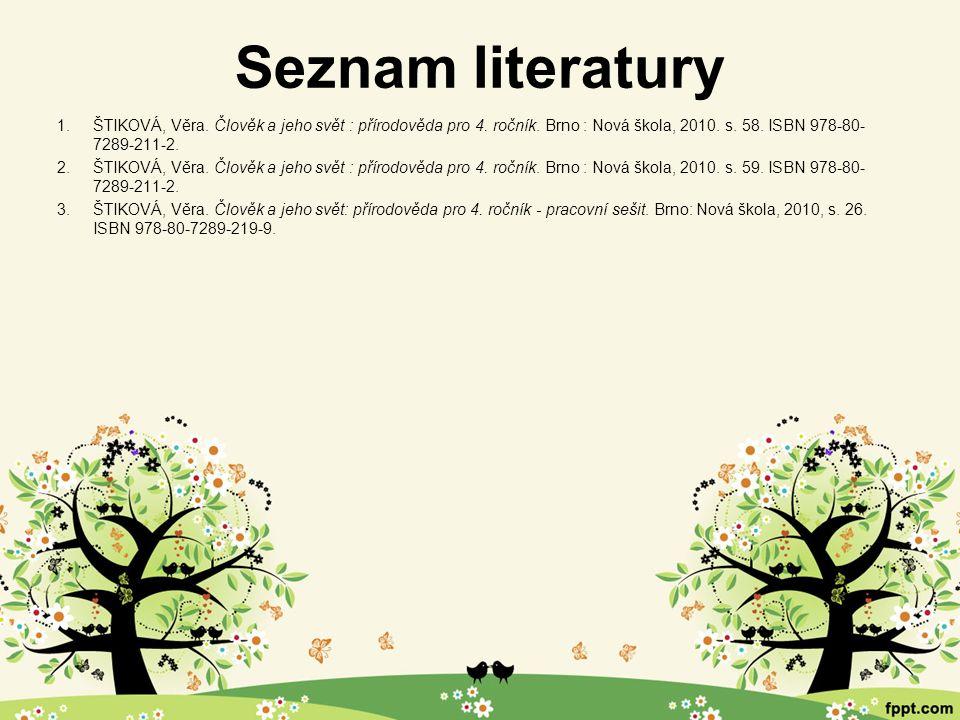 Seznam literatury 1.ŠTIKOVÁ, Věra. Člověk a jeho svět : přírodověda pro 4. ročník. Brno : Nová škola, 2010. s. 58. ISBN 978-80- 7289-211-2. 2.ŠTIKOVÁ,
