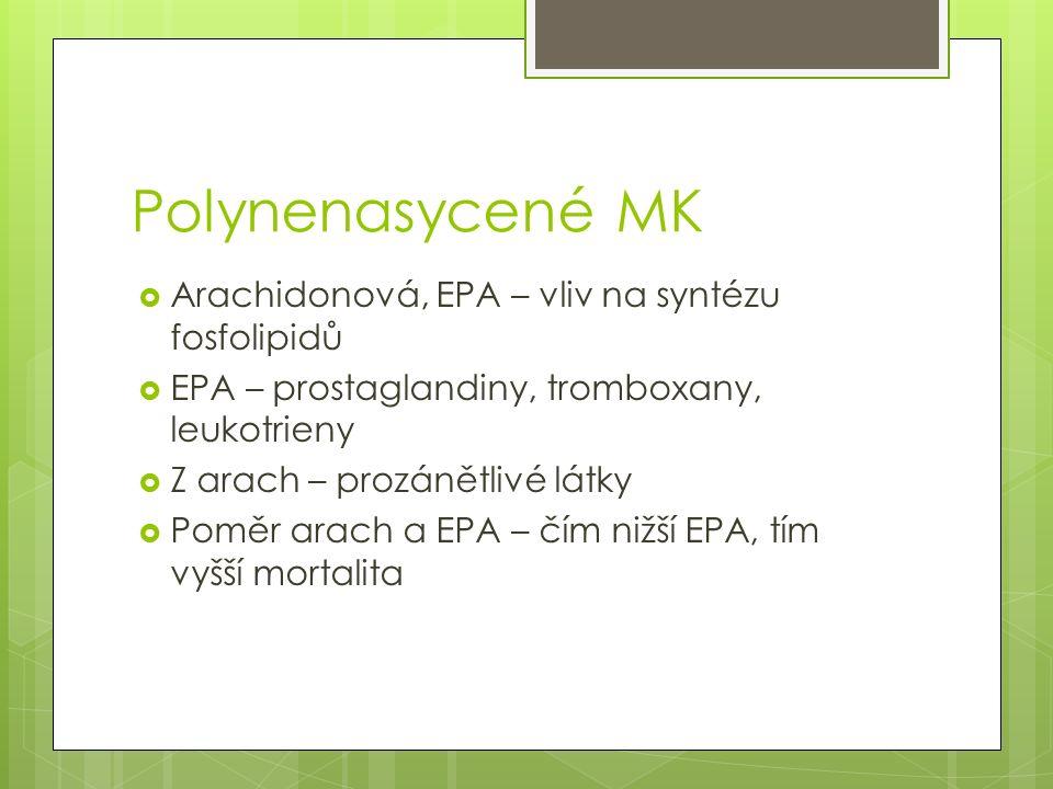 Polynenasycené MK  Arachidonová, EPA – vliv na syntézu fosfolipidů  EPA – prostaglandiny, tromboxany, leukotrieny  Z arach – prozánětlivé látky  Poměr arach a EPA – čím nižší EPA, tím vyšší mortalita