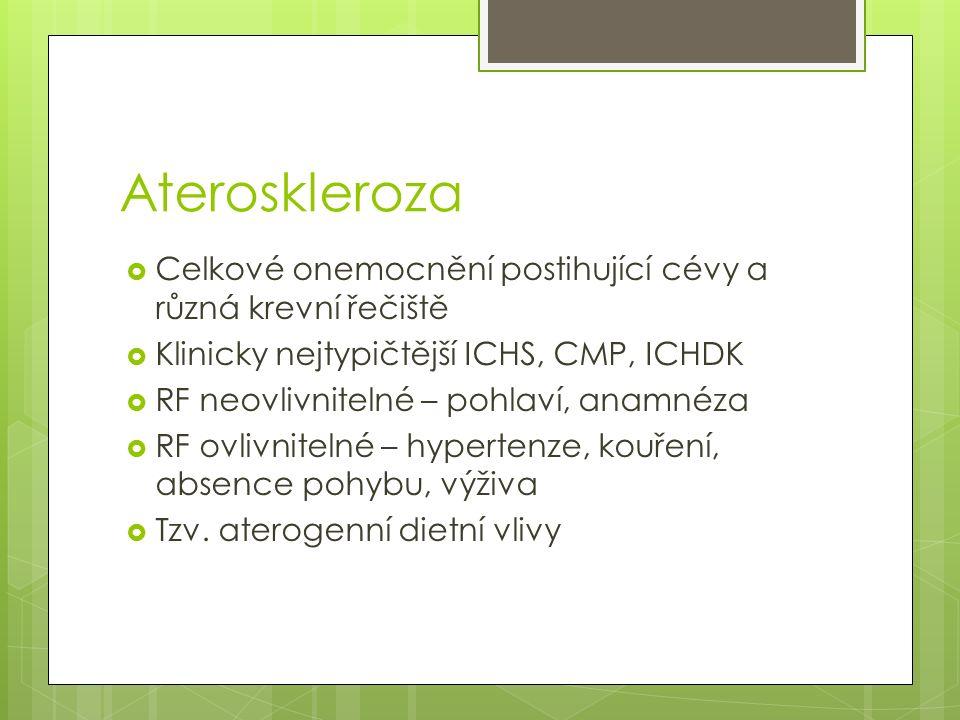 Ateroskleroza  Celkové onemocnění postihující cévy a různá krevní řečiště  Klinicky nejtypičtější ICHS, CMP, ICHDK  RF neovlivnitelné – pohlaví, anamnéza  RF ovlivnitelné – hypertenze, kouření, absence pohybu, výživa  Tzv.