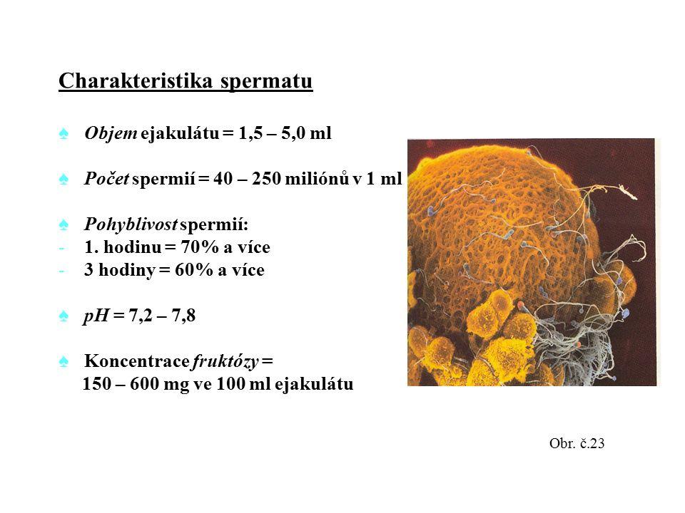 Charakteristika spermatu ♠Objem ejakulátu = 1,5 – 5,0 ml ♠Počet spermií = 40 – 250 miliónů v 1 ml ♠Pohyblivost spermií: -1. hodinu = 70% a více -3 hod