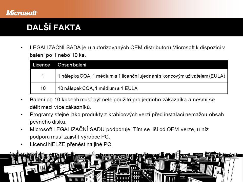 DALŠÍ FAKTA LEGALIZAČNÍ SADA je u autorizovaných OEM distributorů Microsoft k dispozici v balení po 1 nebo 10 ks.