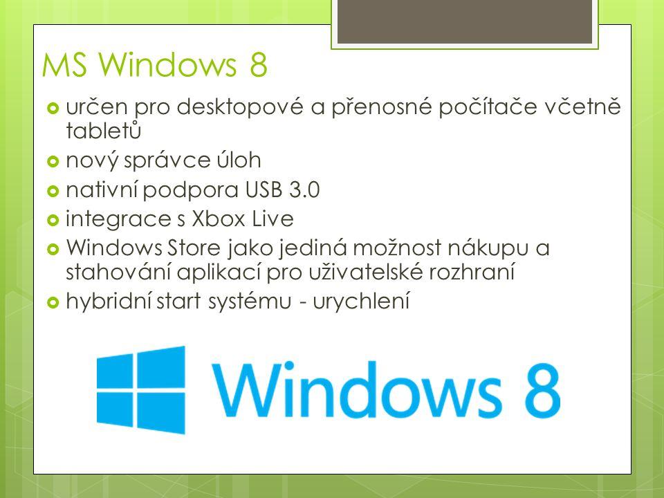 MS Windows 8  určen pro desktopové a přenosné počítače včetně tabletů  nový správce úloh  nativní podpora USB 3.0  integrace s Xbox Live  Windows Store jako jediná možnost nákupu a stahování aplikací pro uživatelské rozhraní  hybridní start systému - urychlení