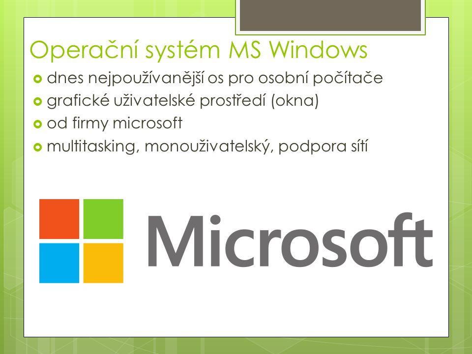 Historie MS Windows  1985 – Windows 1.0 běh více aplikací současně – okna se nesmí překrývat, málo aplikací  1987 – Windows 2.0 možný překryv oken  1990 – Windows 3.0 (program manager)  1995 – OS MS Windows 95  1996 – OS MS Windows NT 4.0 – síťový  1998 – OS MS Windows 98  2000 – OS MS Windows ME – síťový  2001 – OS MS Windows XP – podpora sítí  2007 – OS MS Windows Vista  2009 – OS MS Windows 7  2012 – OS MS Windows 8