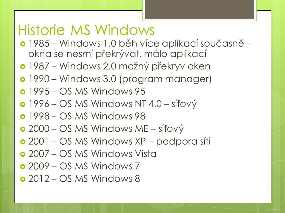 MS Windows 95  32-bitový operační systém  nezávislé na systému DOS  umožňuje jeho emulaci  preemptivní multitasking  orientace na dokumenty  podporuje práci se sítí (Novell)  registr  konfigurační databáze  dlouhá jména  až 255 znaků, možnost používat mezery a spec.