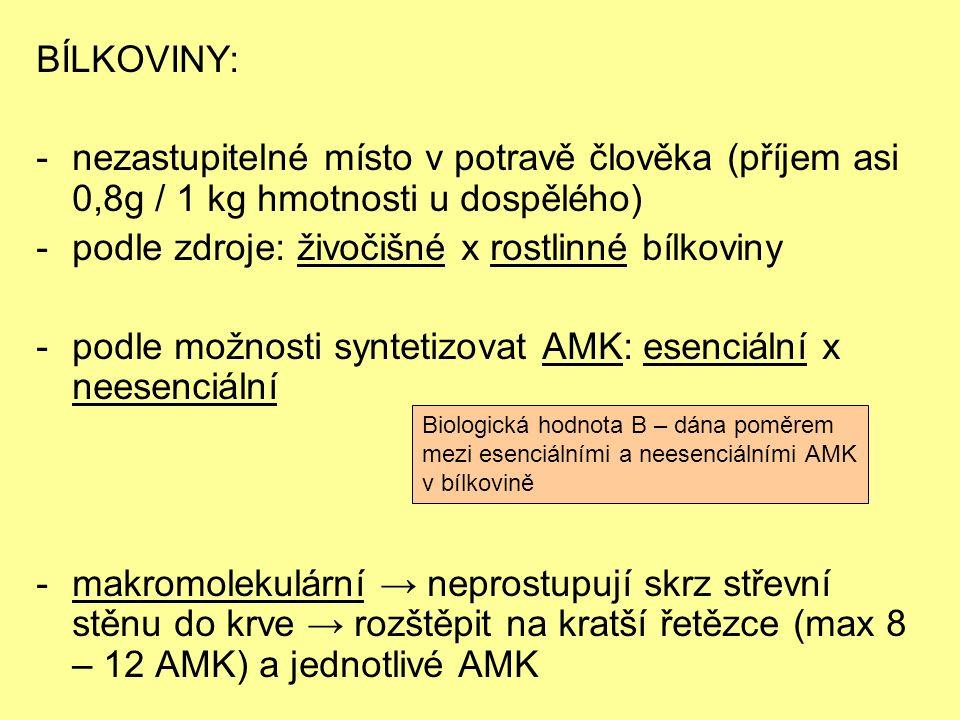 BÍLKOVINY: -nezastupitelné místo v potravě člověka (příjem asi 0,8g / 1 kg hmotnosti u dospělého) -podle zdroje: živočišné x rostlinné bílkoviny -podle možnosti syntetizovat AMK: esenciální x neesenciální -makromolekulární → neprostupují skrz střevní stěnu do krve → rozštěpit na kratší řetězce (max 8 – 12 AMK) a jednotlivé AMK Biologická hodnota B – dána poměrem mezi esenciálními a neesenciálními AMK v bílkovině