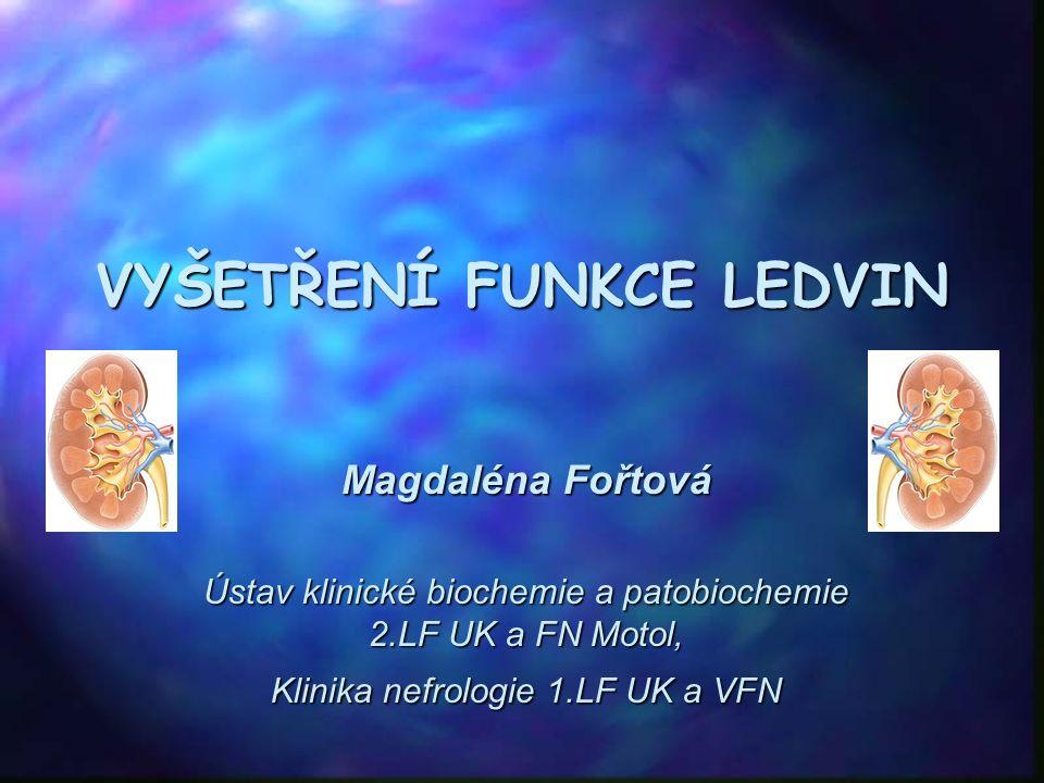 VYŠETŘENÍ FUNKCE LEDVIN Magdaléna Fořtová Ústav klinické biochemie a patobiochemie 2.LF UK a FN Motol, Klinika nefrologie 1.LF UK a VFN