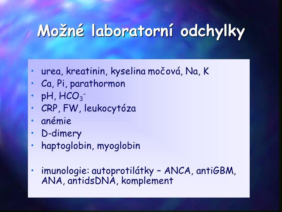 Možné laboratorní odchylky urea, kreatinin, kyselina močová, Na, K Ca, Pi, parathormon pH, HCO 3 - CRP, FW, leukocytóza anémie D-dimery haptoglobin, myoglobin imunologie: autoprotilátky – ANCA, antiGBM, ANA, antidsDNA, komplement
