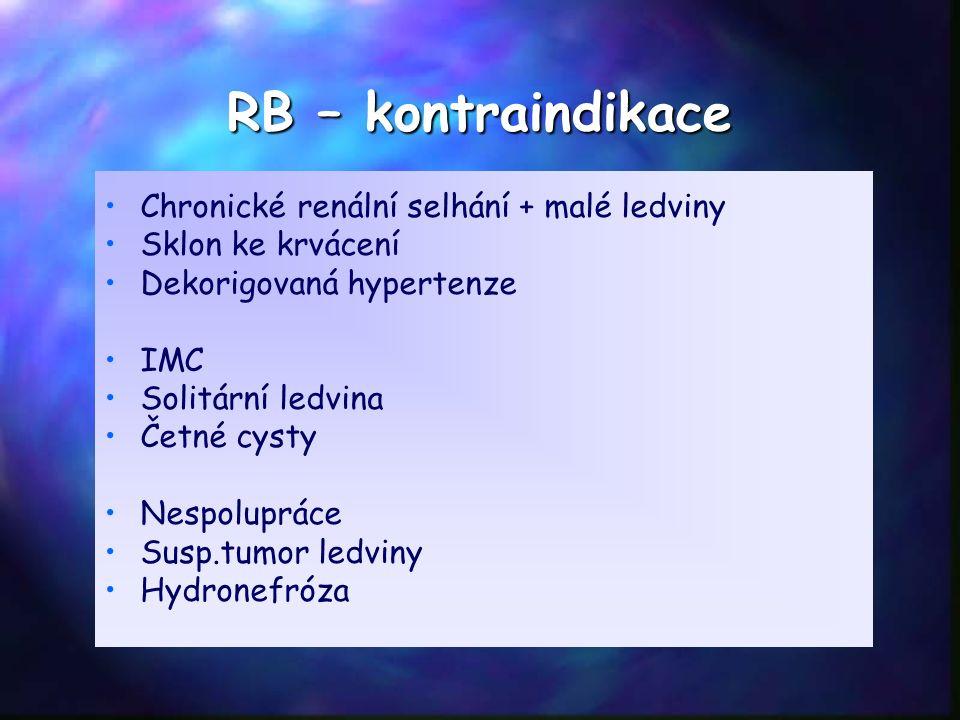 RB – kontraindikace Chronické renální selhání + malé ledviny Sklon ke krvácení Dekorigovaná hypertenze IMC Solitární ledvina Četné cysty Nespolupráce Susp.tumor ledviny Hydronefróza