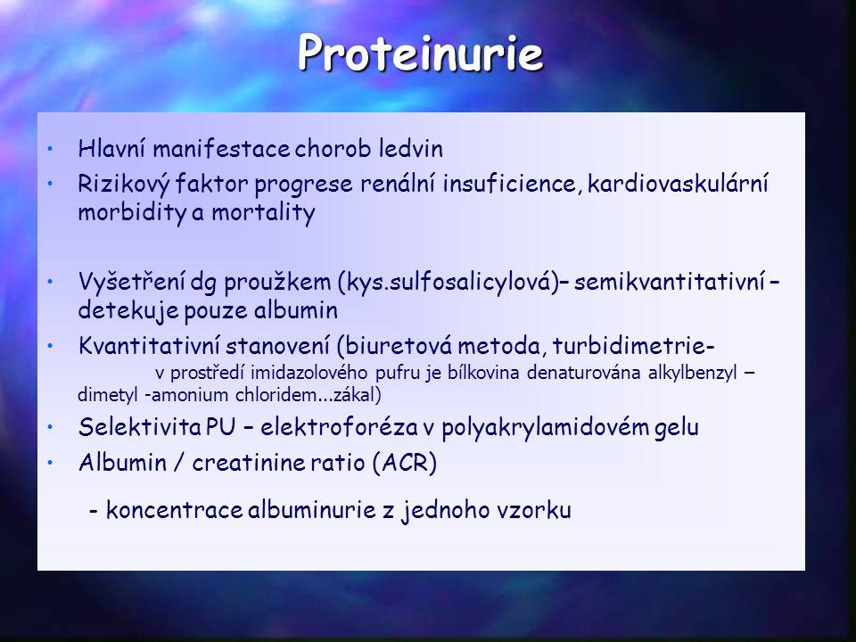 Proteinurie Hlavní manifestace chorob ledvin Rizikový faktor progrese renální insuficience, kardiovaskulární morbidity a mortality Vyšetření dg proužkem (kys.sulfosalicylová)– semikvantitativní – detekuje pouze albumin Kvantitativní stanovení (biuretová metoda, turbidimetrie- v prostředí imidazolového pufru je bílkovina denaturována alkylbenzyl – dimetyl -amonium chloridem...zákal) Selektivita PU – elektroforéza v polyakrylamidovém gelu Albumin / creatinine ratio (ACR) - koncentrace albuminurie z jednoho vzorku