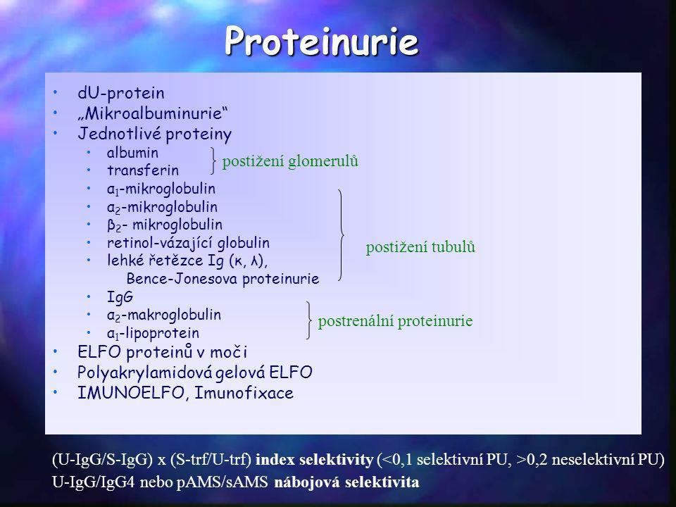"Proteinurie dU-protein ""Mikroalbuminurie Jednotlivé proteiny albumin transferin α 1 -mikroglobulin α 2 -mikroglobulin β 2 - mikroglobulin retinol-vázající globulin lehké řetězce Ig (κ, λ), Bence-Jonesova proteinurie IgG α 2 -makroglobulin α 1 -lipoprotein ELFO proteinů v moči Polyakrylamidová gelová ELFO IMUNOELFO, Imunofixace postižení glomerulů postižení tubulů postrenální proteinurie (U-IgG/S-IgG) x (S-trf/U-trf) index selektivity ( 0,2 neselektivní PU) U-IgG/IgG4 nebo pAMS/sAMS nábojová selektivita"