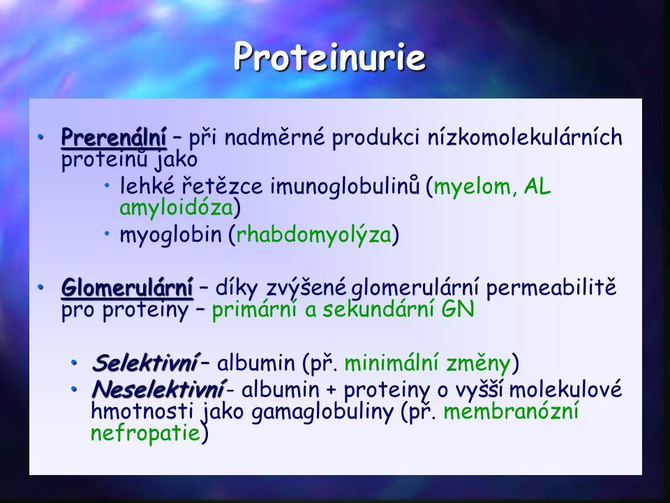 PrerenálníPrerenální – při nadměrné produkci nízkomolekulárních proteinů jako lehké řetězce imunoglobulinů (myelom, AL amyloidóza) myoglobin (rhabdomyolýza) GlomerulárníGlomerulární – díky zvýšené glomerulární permeabilitě pro proteiny – primární a sekundární GN SelektivníSelektivní – albumin (př.