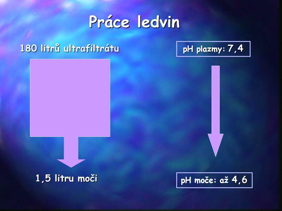 4,6 pH moče: až 4,6 Práce ledvin 180 litrů ultrafiltrátu pH plazmy: 7,4 1,5 litru moči