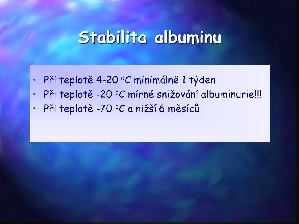 Stabilita albuminu Při teplotě 4-20 o C minimálně 1 týden Při teplotě -20 o C mírné snižování albuminurie!!! Při teplotě -70 o C a nižší 6 měsíců