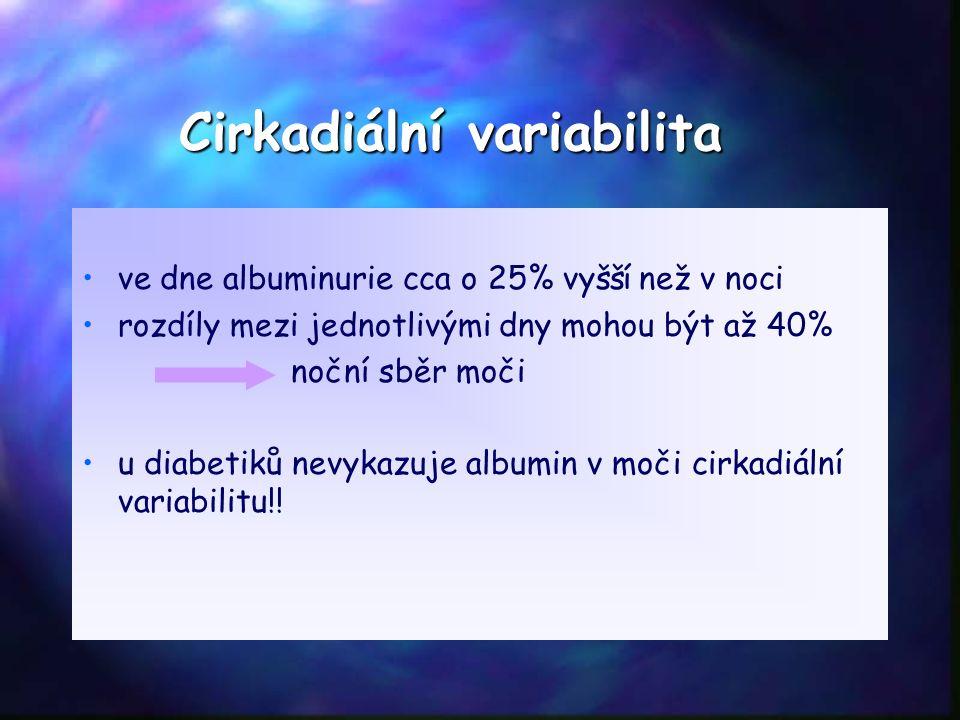 Cirkadiální variabilita ve dne albuminurie cca o 25% vyšší než v noci rozdíly mezi jednotlivými dny mohou být až 40% noční sběr moči u diabetiků nevykazuje albumin v moči cirkadiální variabilitu!!