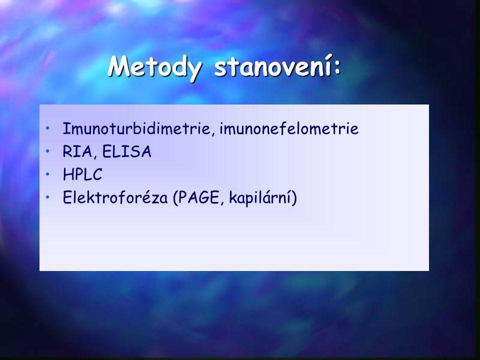 Metody stanovení: Imunoturbidimetrie, imunonefelometrie RIA, ELISA HPLC Elektroforéza (PAGE, kapilární)