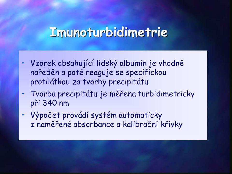 Imunoturbidimetrie Vzorek obsahující lidský albumin je vhodně naředěn a poté reaguje se specifickou protilátkou za tvorby precipitátu Tvorba precipitátu je měřena turbidimetricky při 340 nm Výpočet provádí systém automaticky z naměřené absorbance a kalibrační křivky