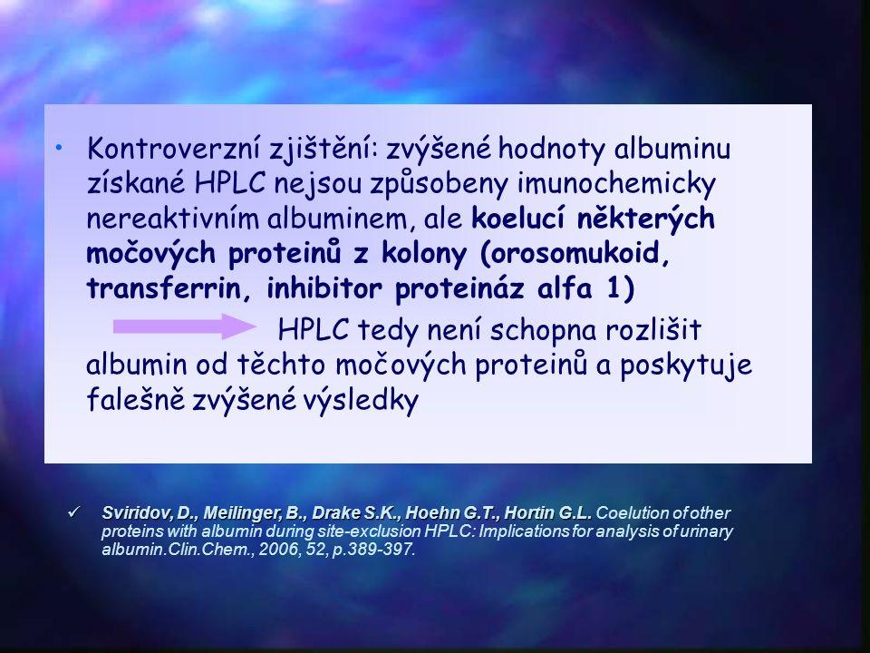 Kontroverzní zjištění: zvýšené hodnoty albuminu získané HPLC nejsou způsobeny imunochemicky nereaktivním albuminem, ale koelucí některých močových proteinů z kolony (orosomukoid, transferrin, inhibitor proteináz alfa 1) HPLC tedy není schopna rozlišit albumin od těchto močových proteinů a poskytuje falešně zvýšené výsledky Sviridov, D., Meilinger, B., Drake S.K., Hoehn G.T., Hortin G.L.
