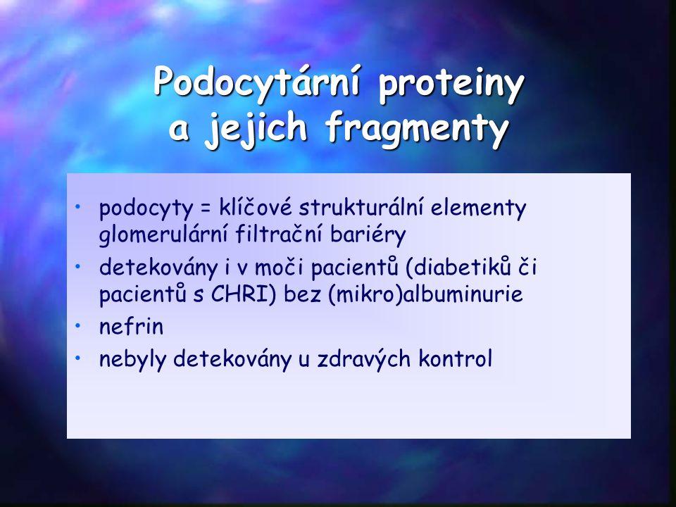 Podocytární proteiny a jejich fragmenty podocyty = klíčové strukturální elementy glomerulární filtrační bariéry detekovány i v moči pacientů (diabetiků či pacientů s CHRI) bez (mikro)albuminurie nefrin nebyly detekovány u zdravých kontrol