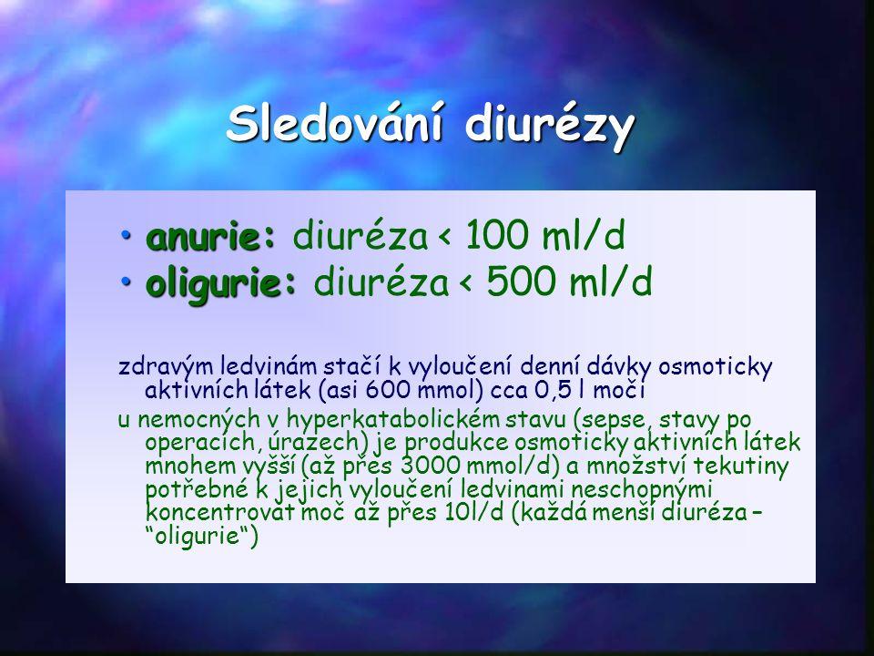 Sledování diurézy anurie:anurie: diuréza < 100 ml/d oligurie:oligurie: diuréza < 500 ml/d zdravým ledvinám stačí k vyloučení denní dávky osmoticky aktivních látek (asi 600 mmol) cca 0,5 l moči u nemocných v hyperkatabolickém stavu (sepse, stavy po operacích, úrazech) je produkce osmoticky aktivních látek mnohem vyšší (až přes 3000 mmol/d) a množství tekutiny potřebné k jejich vyloučení ledvinami neschopnými koncentrovat moč až přes 10l/d (každá menší diuréza – oligurie )