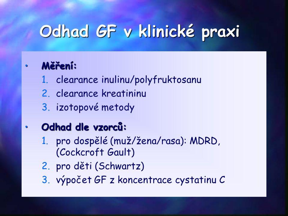 Odhad GF v klinické praxi Měření:Měření: 1. 1.clearance inulinu/polyfruktosanu 2. 2.clearance kreatininu 3. 3.izotopové metody Odhad dle vzorců:Odhad