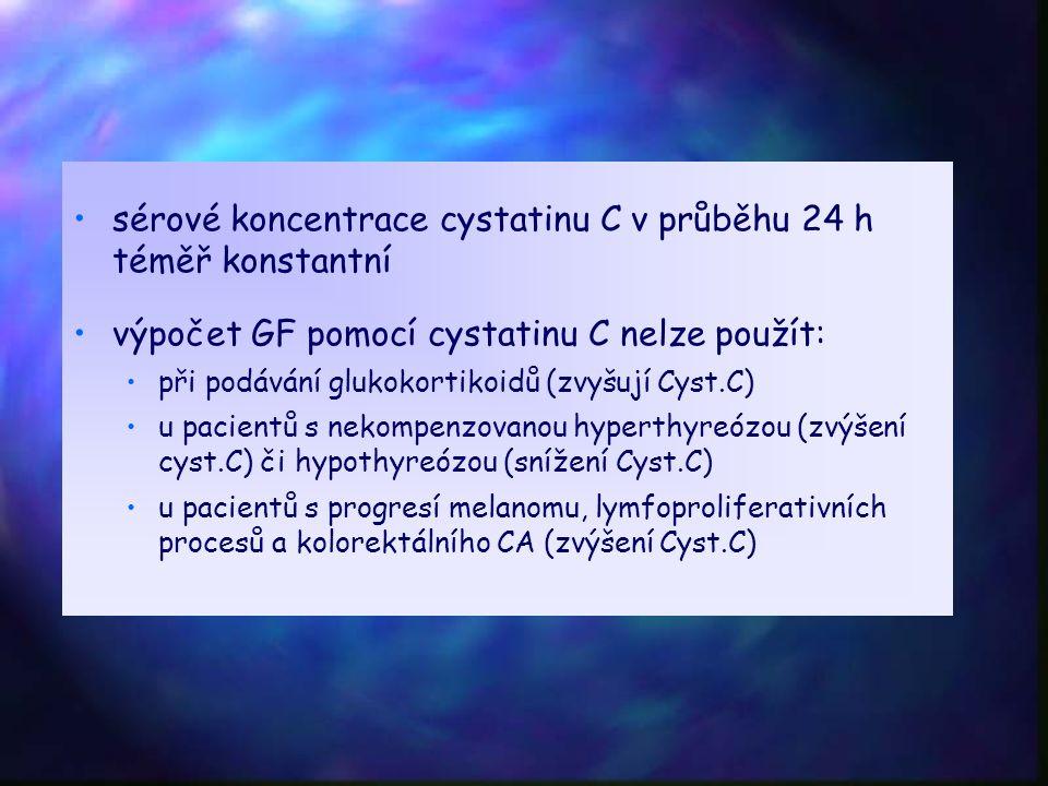 sérové koncentrace cystatinu C v průběhu 24 h téměř konstantní výpočet GF pomocí cystatinu C nelze použít: při podávání glukokortikoidů (zvyšují Cyst.C) u pacientů s nekompenzovanou hyperthyreózou (zvýšení cyst.C) či hypothyreózou (snížení Cyst.C) u pacientů s progresí melanomu, lymfoproliferativních procesů a kolorektálního CA (zvýšení Cyst.C)