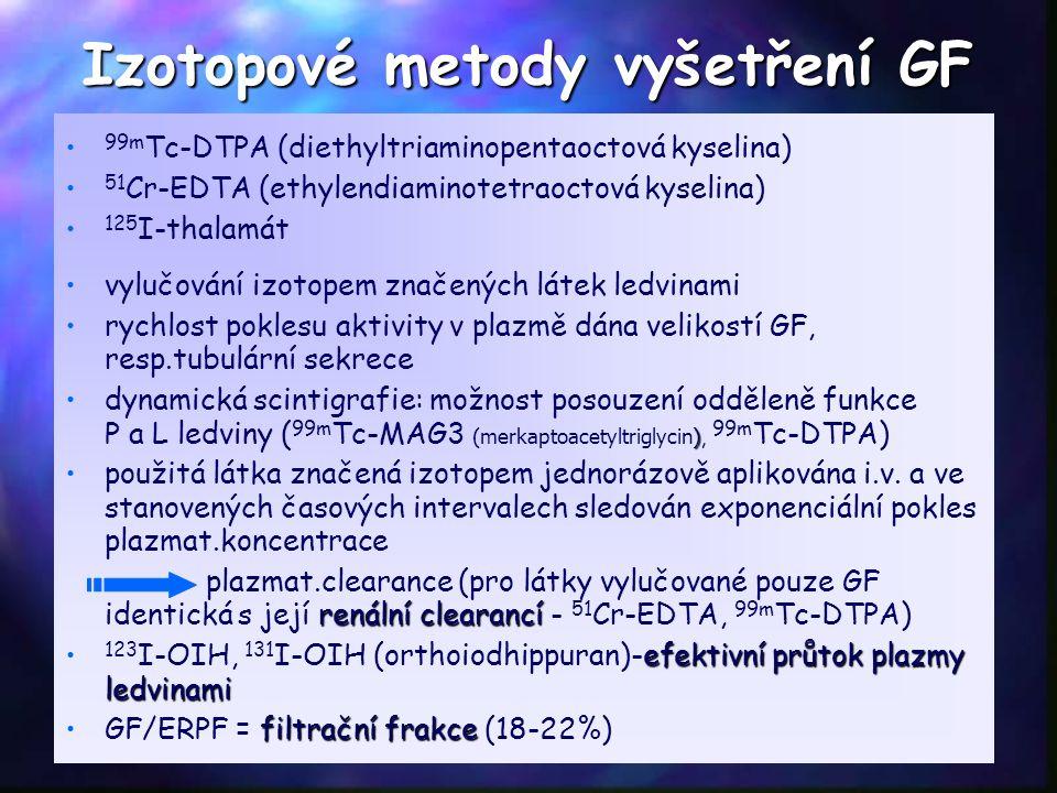 Izotopové metody vyšetření GF 99m Tc-DTPA (diethyltriaminopentaoctová kyselina) 51 Cr-EDTA (ethylendiaminotetraoctová kyselina) 125 I-thalamát vylučov