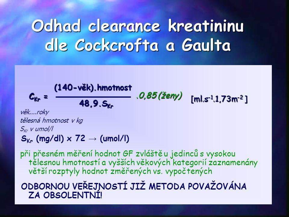 Odhad clearance kreatininu dle Cockcrofta a Gaulta věk....roky tělesná hmotnost v kg S Kr v umol/l S Kr (mg/dl) x 72 → (umol/l) při přesném měření hodnot GF zvláště u jedinců s vysokou tělesnou hmotností a vyšších věkových kategorií zaznamenány větší rozptyly hodnot změřených vs.