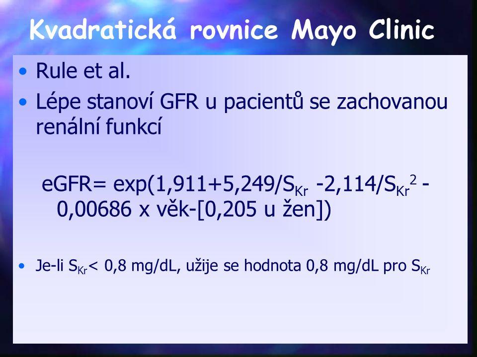 Kvadratická rovnice Mayo Clinic Rule et al. Lépe stanoví GFR u pacientů se zachovanou renální funkcí eGFR= exp(1,911+5,249/S Kr -2,114/S Kr 2 - 0,0068