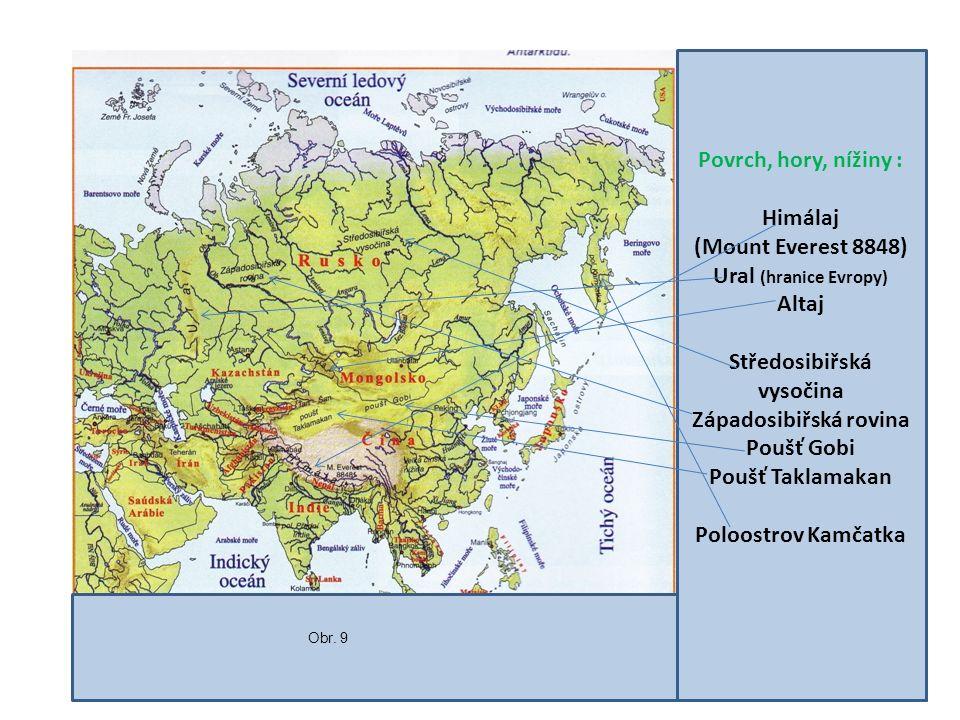 Povrch, hory, nížiny : Himálaj (Mount Everest 8848) Ural (hranice Evropy) Altaj Středosibiřská vysočina Západosibiřská rovina Poušť Gobi Poušť Taklamakan Poloostrov Kamčatka Obr.
