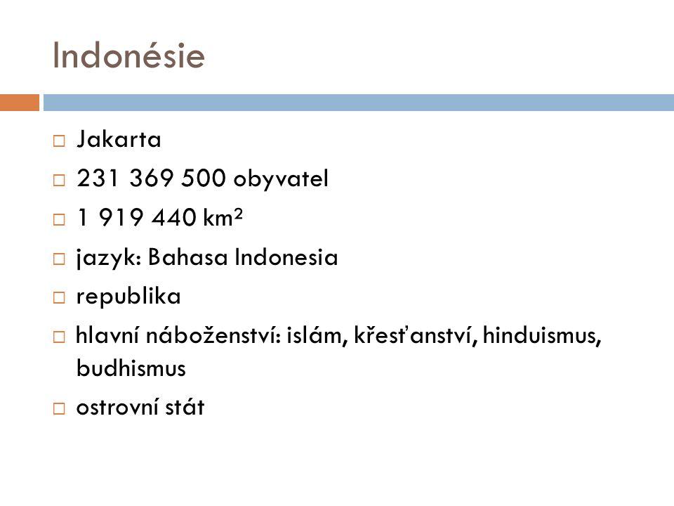 Indonésie  Jakarta  231 369 500 obyvatel  1 919 440 km²  jazyk: Bahasa Indonesia  republika  hlavní náboženství: islám, křesťanství, hinduismus, budhismus  ostrovní stát