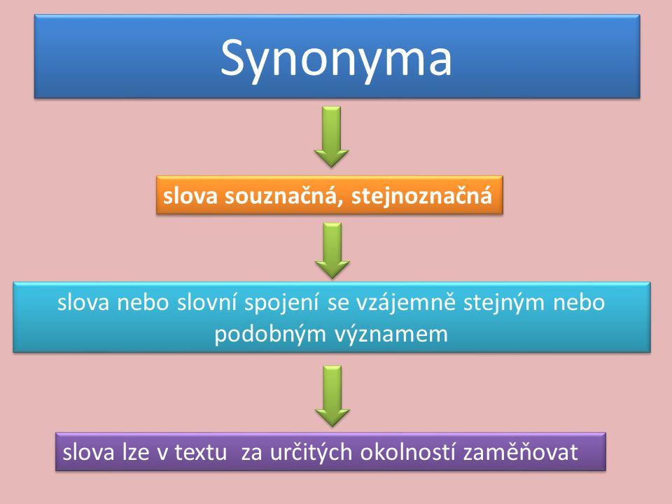 Synonyma slova souznačná, stejnoznačná slova nebo slovní spojení se vzájemně stejným nebo podobným významem slova lze v textu za určitých okolností zaměňovat