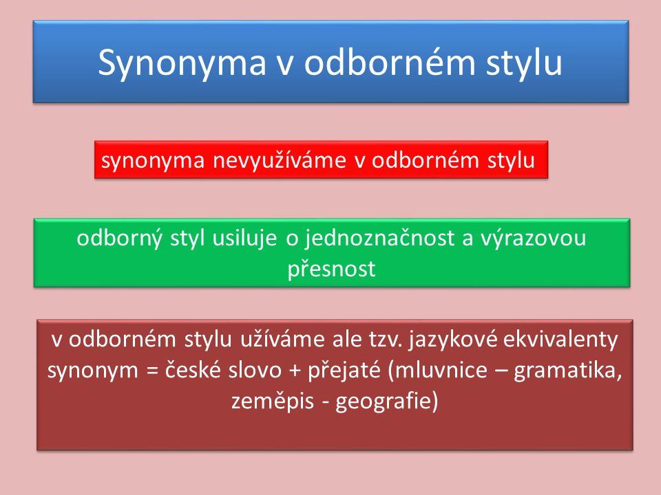Synonyma v odborném stylu synonyma nevyužíváme v odborném stylu odborný styl usiluje o jednoznačnost a výrazovou přesnost v odborném stylu užíváme ale tzv.