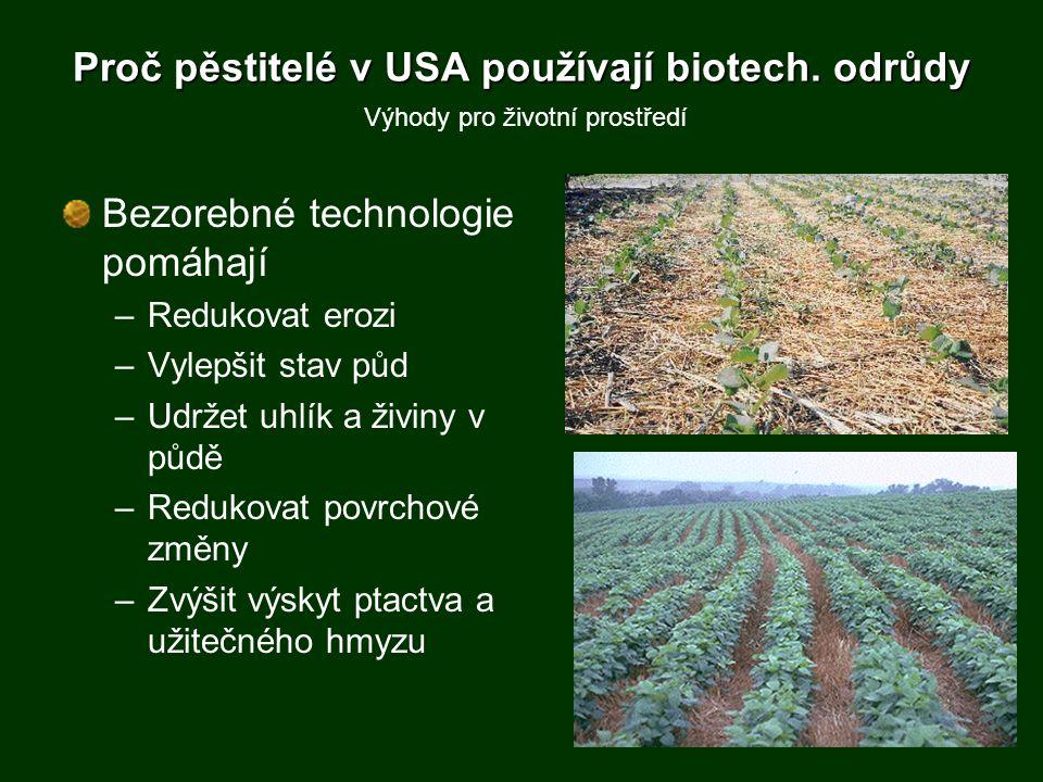 Proč pěstitelé v USA používají biotech. odrůdy Bezorebné technologie pomáhají –Redukovat erozi –Vylepšit stav půd –Udržet uhlík a živiny v půdě –Reduk