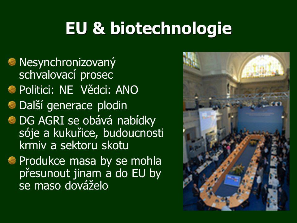 EU & biotechnologie Nesynchronizovaný schvalovací prosec Politici: NE Vědci: ANO Další generace plodin DG AGRI se obává nabídky sóje a kukuřice, budoucnosti krmiv a sektoru skotu Produkce masa by se mohla přesunout jinam a do EU by se maso dováželo