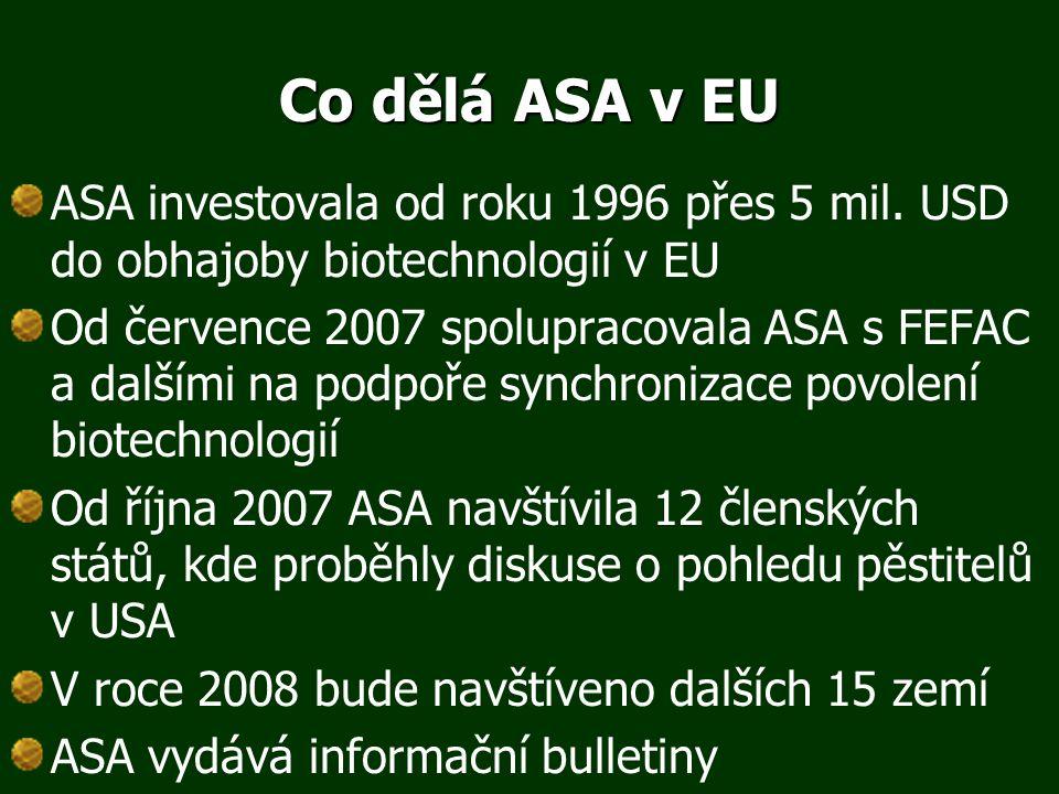 Co dělá ASA v EU ASA investovala od roku 1996 přes 5 mil. USD do obhajoby biotechnologií v EU Od července 2007 spolupracovala ASA s FEFAC a dalšími na