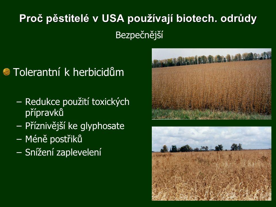 Proč pěstitelé v USA používají biotech. odrůdy Tolerantní k herbicidům –Redukce použití toxických přípravků –Příznivější ke glyphosate –Méně postřiků