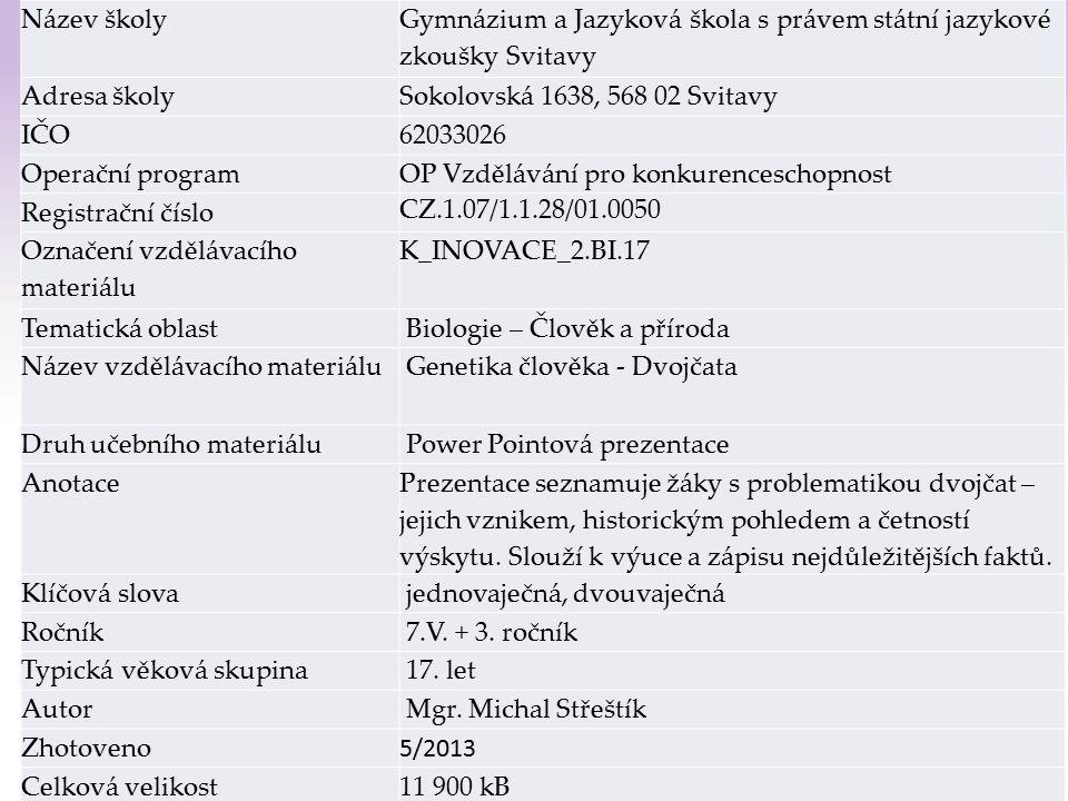 Gymnázium a Jazyková škola s právem státní jazykové zkoušky Svitavy Dvojčata 1