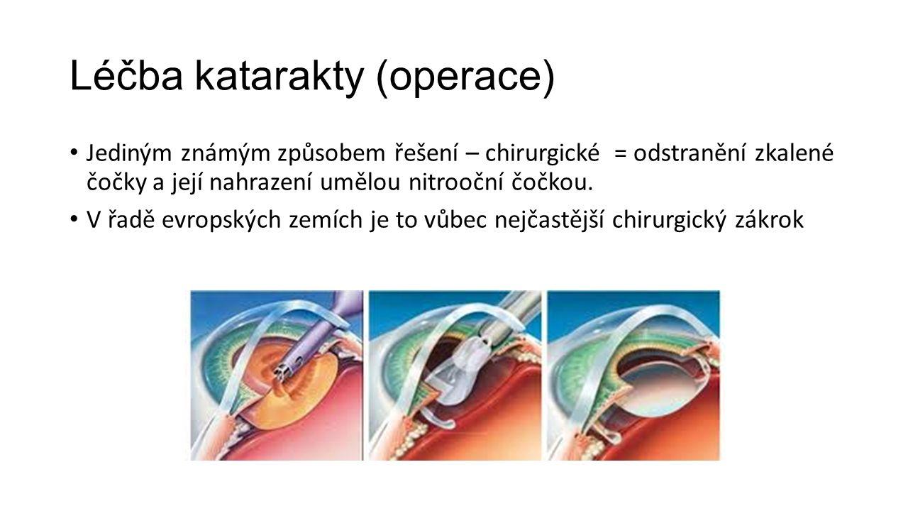 Léčba katarakty (operace) Jediným známým způsobem řešení – chirurgické = odstranění zkalené čočky a její nahrazení umělou nitrooční čočkou.