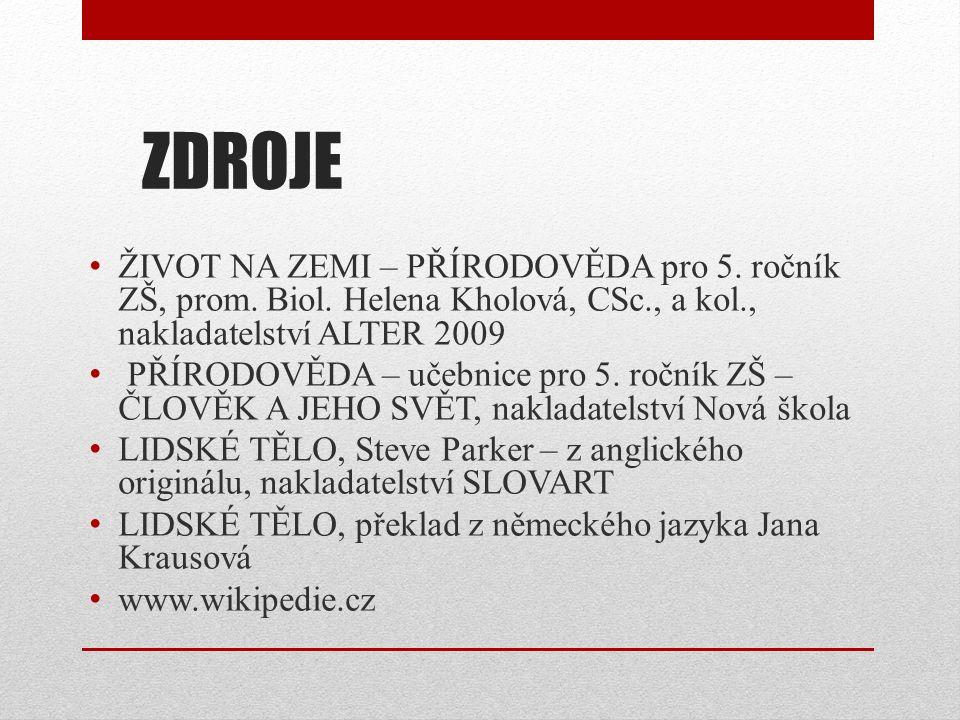 ZDROJE ŽIVOT NA ZEMI – PŘÍRODOVĚDA pro 5. ročník ZŠ, prom. Biol. Helena Kholová, CSc., a kol., nakladatelství ALTER 2009 PŘÍRODOVĚDA – učebnice pro 5.