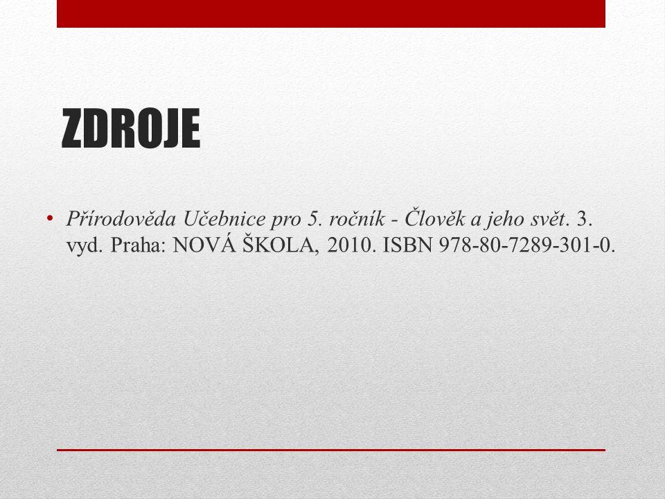 ZDROJE Přírodověda Učebnice pro 5. ročník - Člověk a jeho svět. 3. vyd. Praha: NOVÁ ŠKOLA, 2010. ISBN 978-80-7289-301-0.